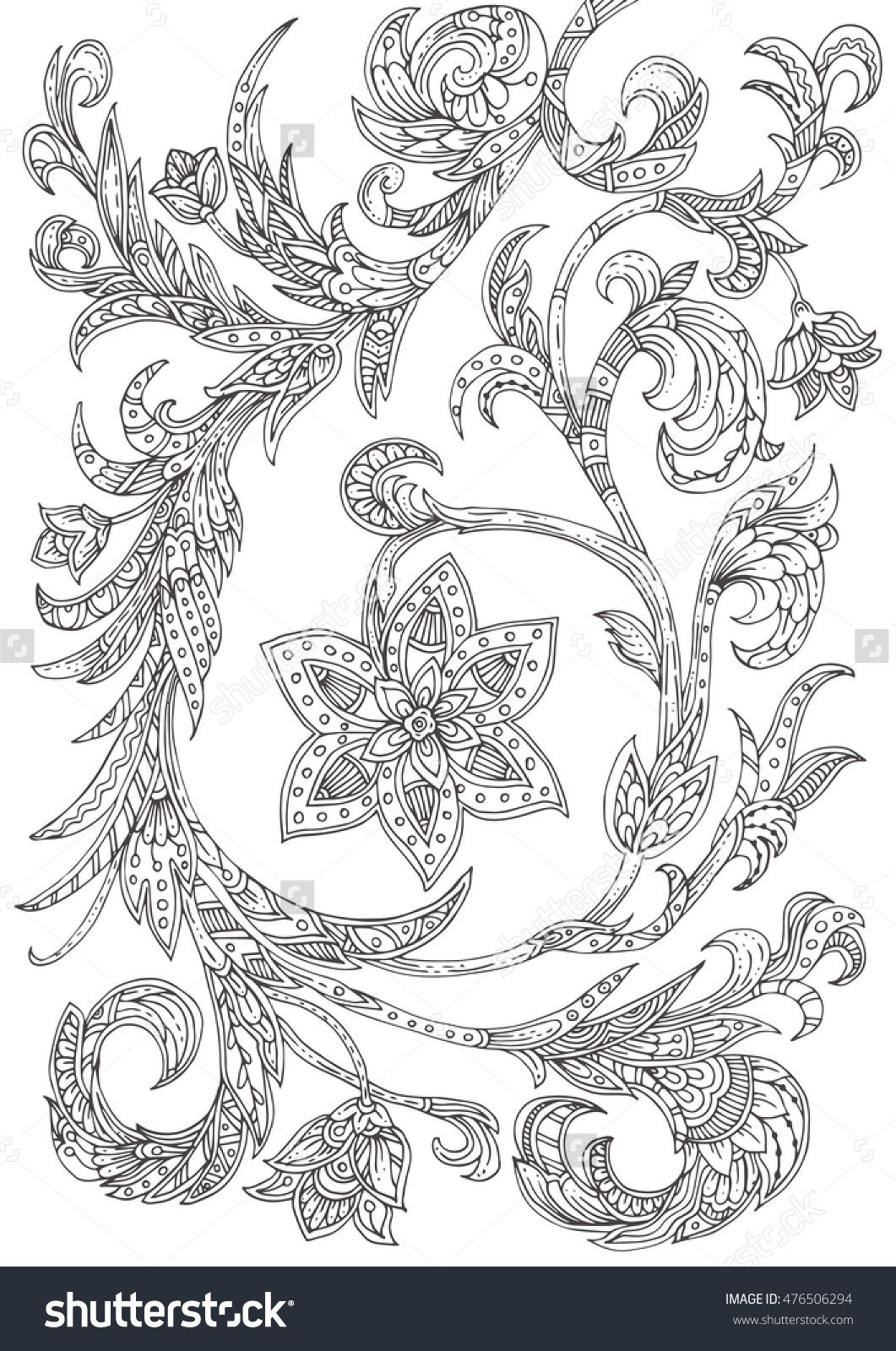 Handdrawn italian floral ornament pattern in black and white