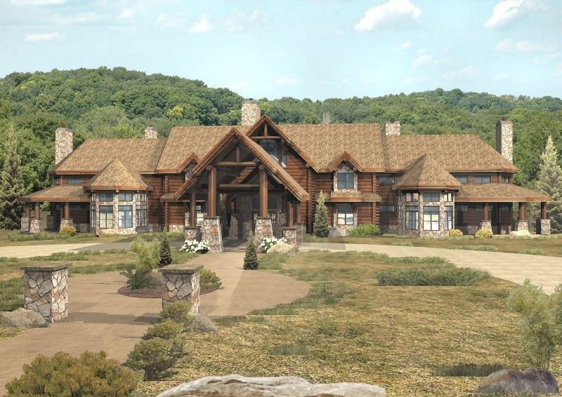 Pendleton estate log homes cabins and log home floor for Luxury log home plans