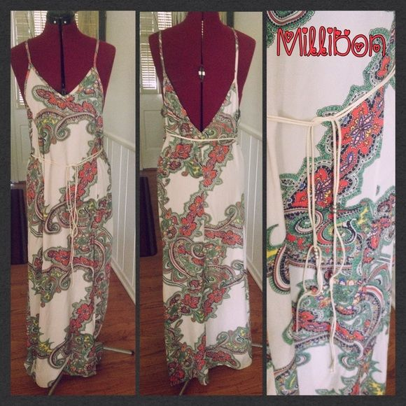 Beautiful paisley summer dress Comes with a faux suede beaded belt and has a sexy side slit. One size fits most (on the smaller side, no stretch). Millibon Dresses Maxi