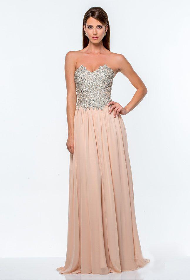 Strapless bodice maxi dress