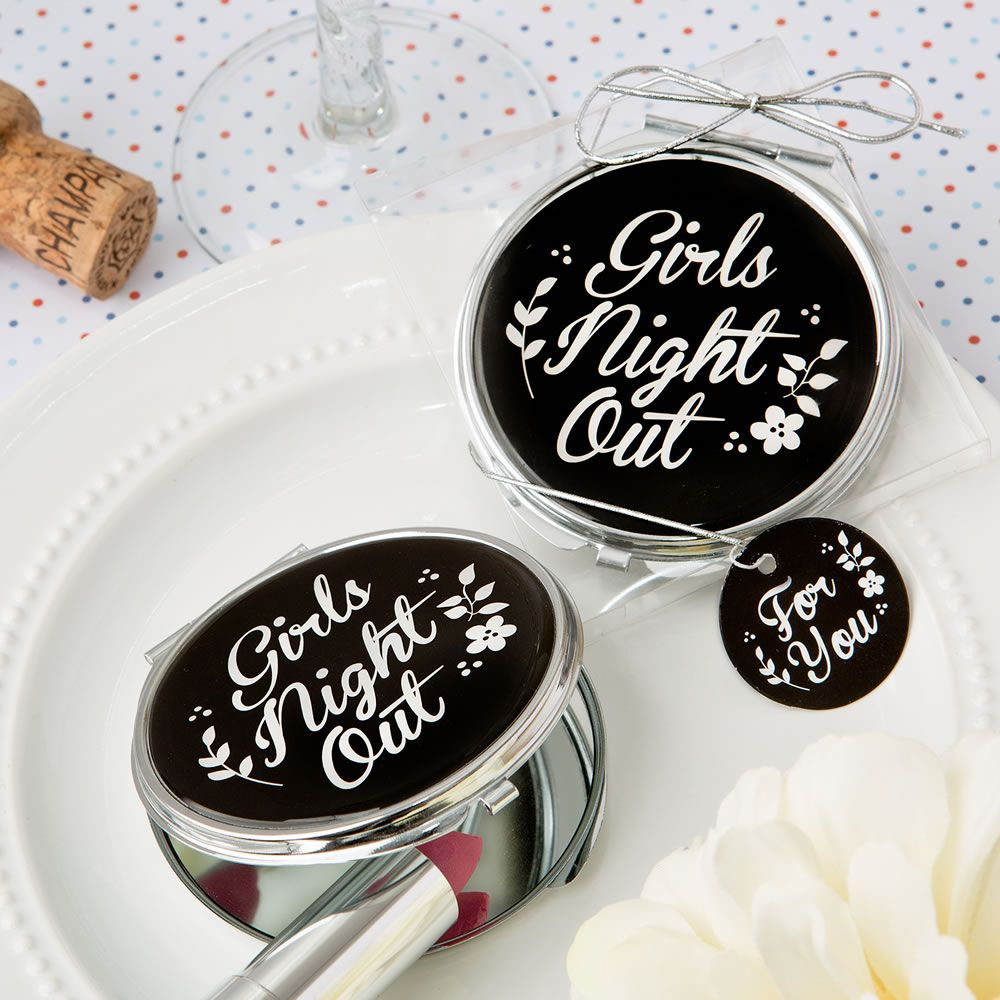 Girls Night Out\' Silver Metal Compact Mirror w/ Black Epoxy Top ...