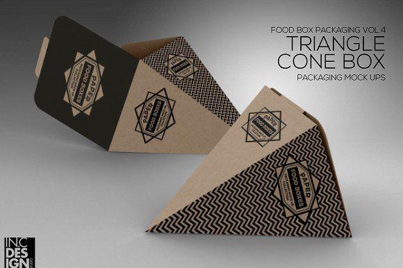 Download Triangle Cone Box Mockup Box Mockup Free Packaging Mockup Food Box Packaging