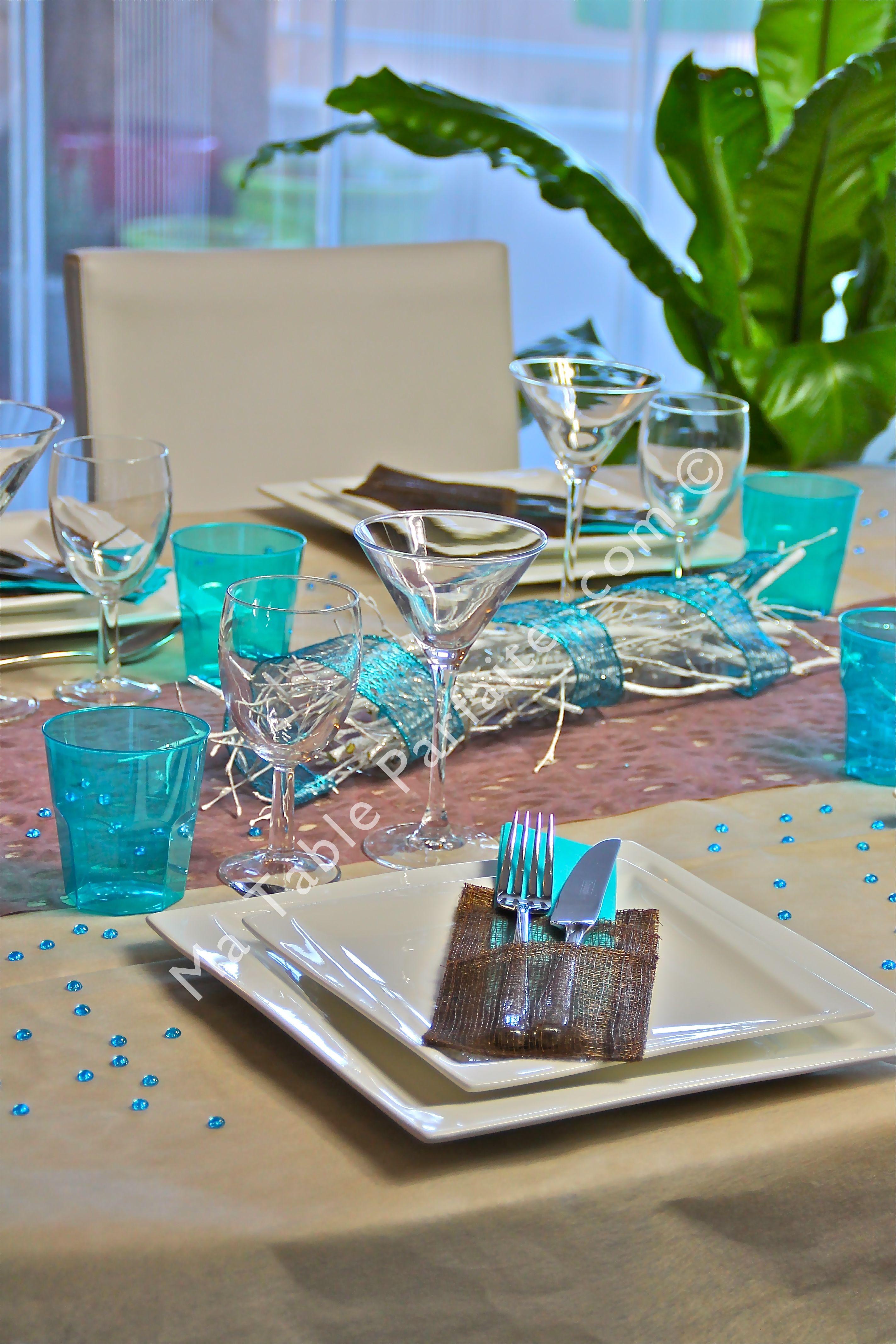 Décoration de table prête-à-poser Bleu turquoise et cacao avec ...