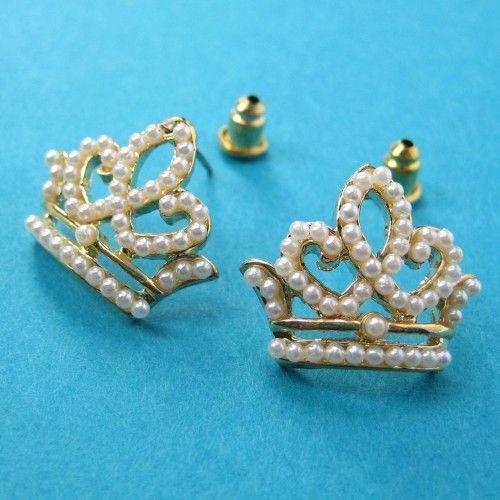$3.50 SALE - Princess Crown Stud Earrings with Pearl like Detail