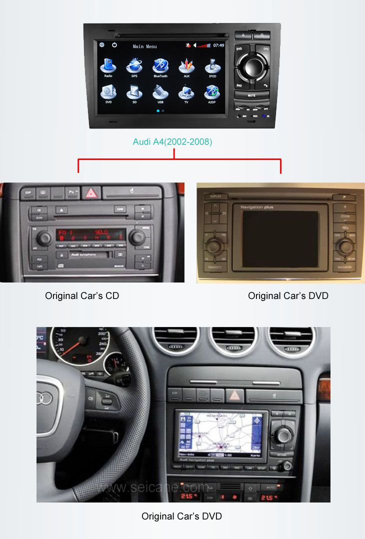 Car Dvd Player For Audi A4 S4 Rs4 With Gps Radio Tv Bluetooth Car Dvd Players Gps Audi