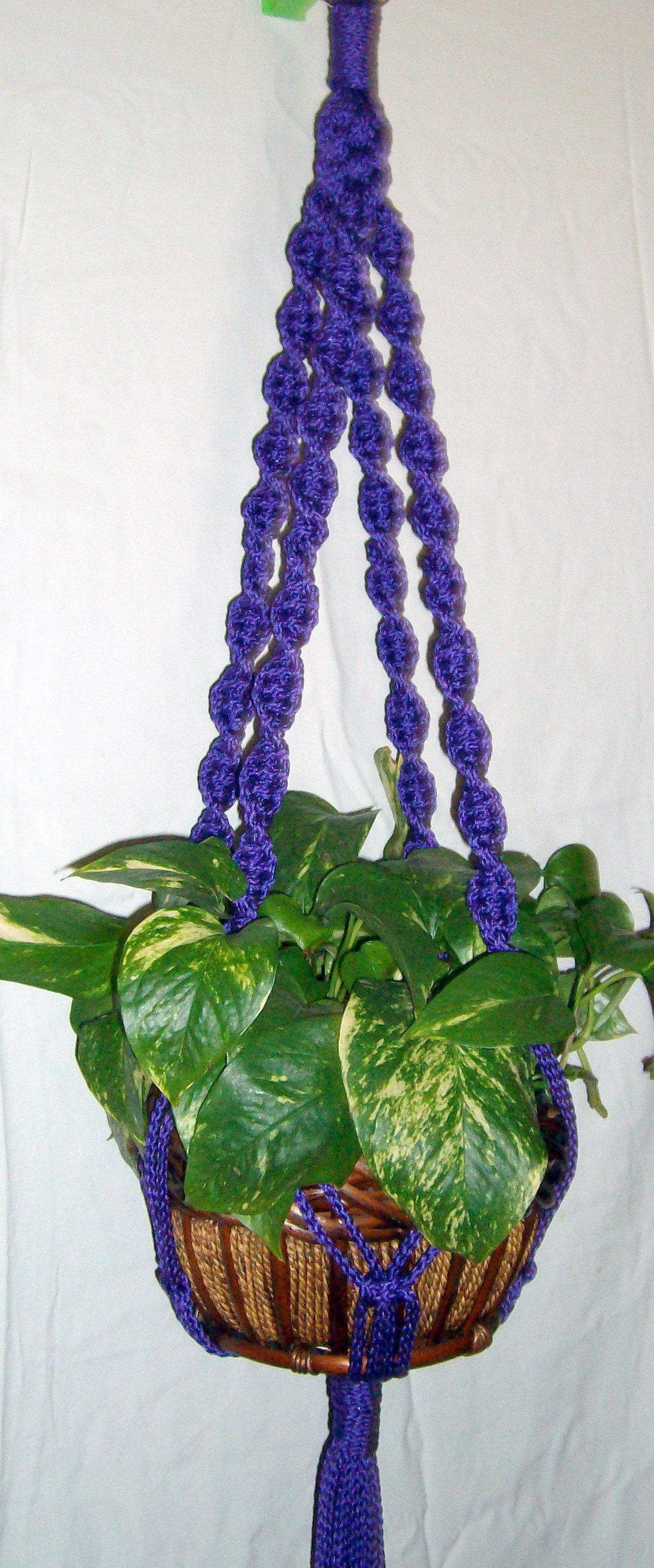 Macrame Plant Hanger Large Flower Pot Holder Indoor Outdoor Spiral 4 Legs 45 Purple Macrame Flower Pot Hanger Other Colors Available Flower Pot Hanger Macrame Plant Hanger Flower Pot Holder