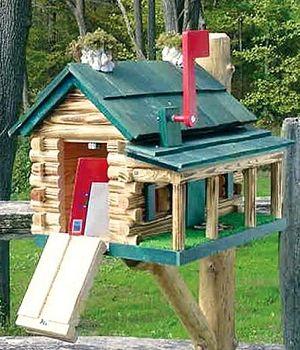 The Lighthouse Peddler   Log Cabin Shack With Porch Mailboxes   Wooden Log  Cabin Mailboxes   Wood Shack Cabin With Porch   Early American Wooden  Mailboxes ...