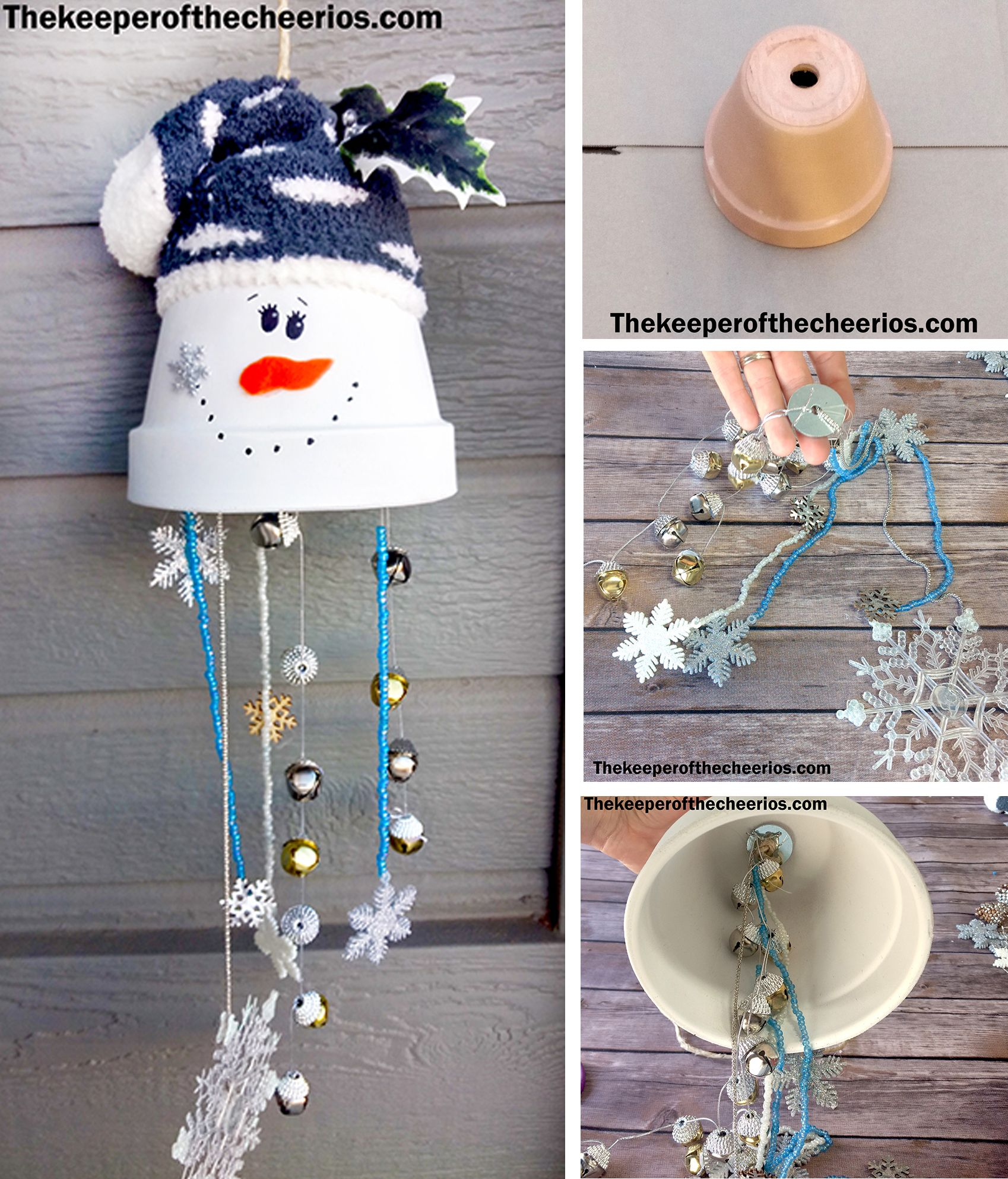 Clay Pot Snowman Wind Chime Christmas Christmas Crafts