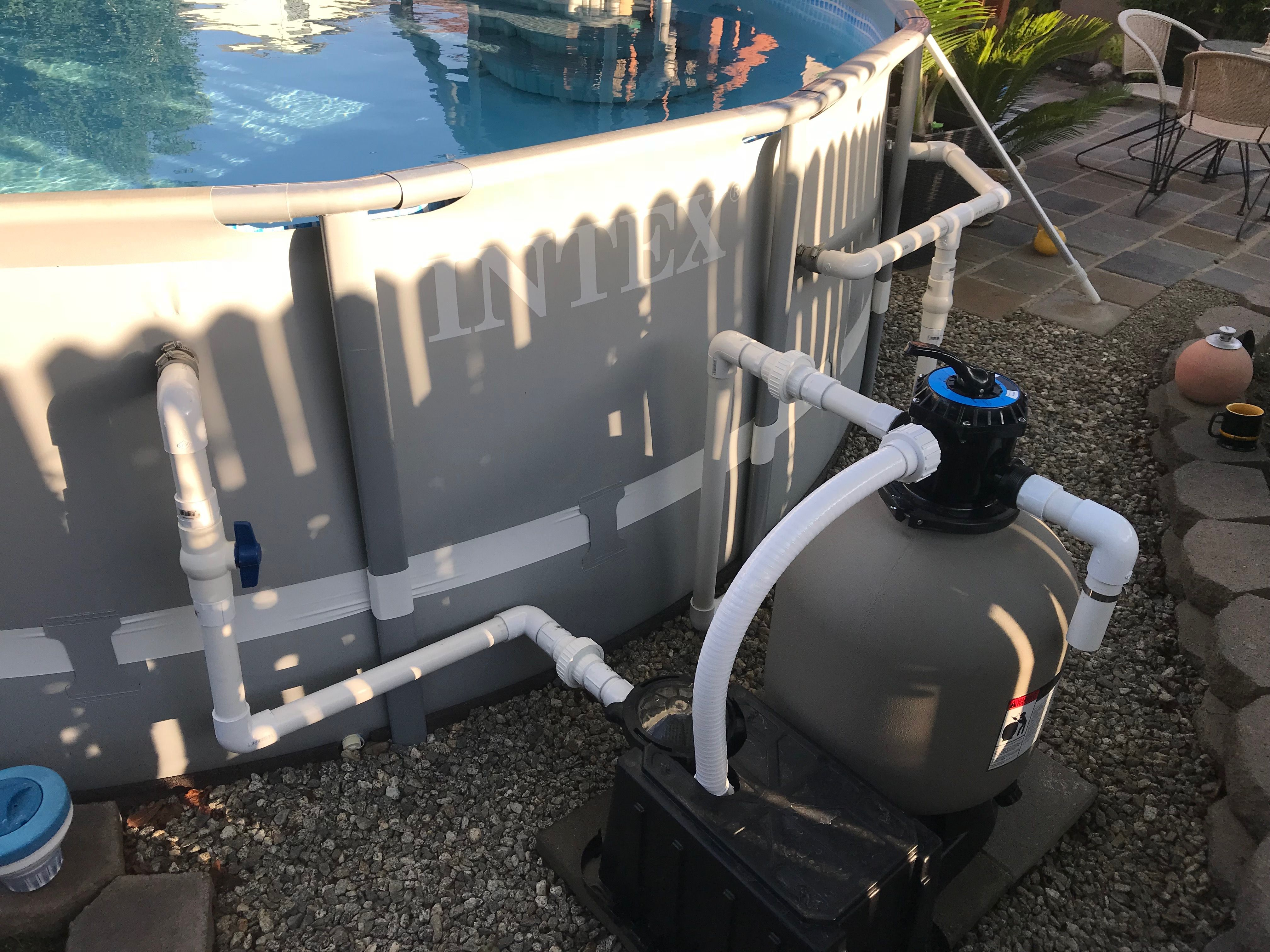 Pump And Filter Upgrade From Cartridge W 1 2 H Pump To A 19 Sand Filter W 1 Hp Pump Also Plumbed 1 1 2 Hard Above Ground Pool Pumps Pvc Pool Pool Plumbing