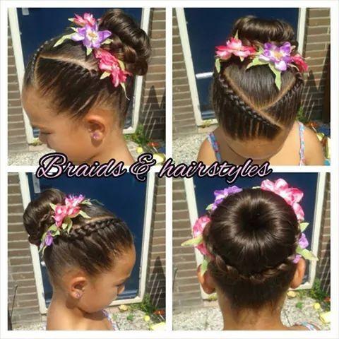 Ballet Bun Cornrow Hair Styles Flower Girl Hairstyles Kids Hairstyles