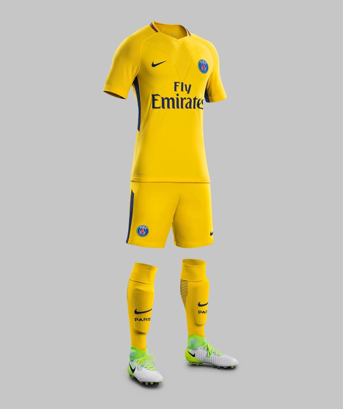 The new Paris Saint-Germain 2017-2018 away jersey is yellow d7939c52d