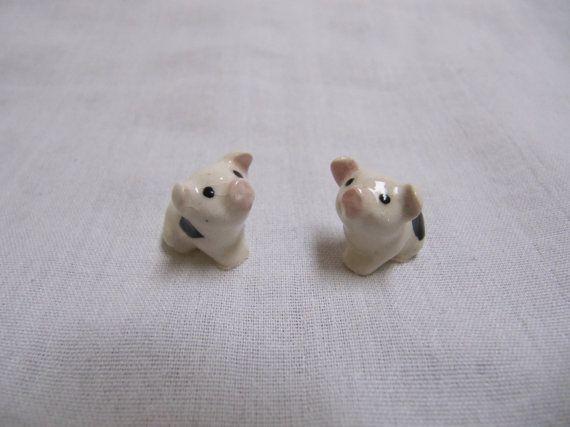 Vintage Hagen Renaker Miniature Pig Pair Miniature Pigs Miniatures Animal Figurines
