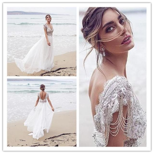 Arabic Sheer Beach Wedding Dresses Dubai Long Appliques Chiffon ...