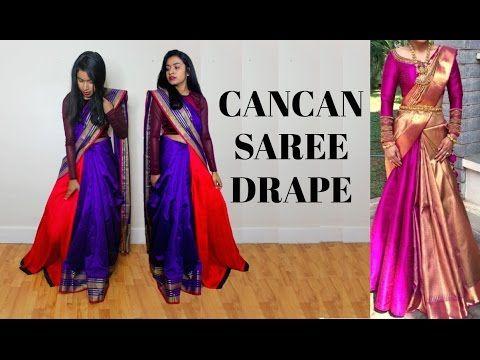 How To Wear a Cancan Saree Drape Tutorial   Thuri Makeup – YouTube