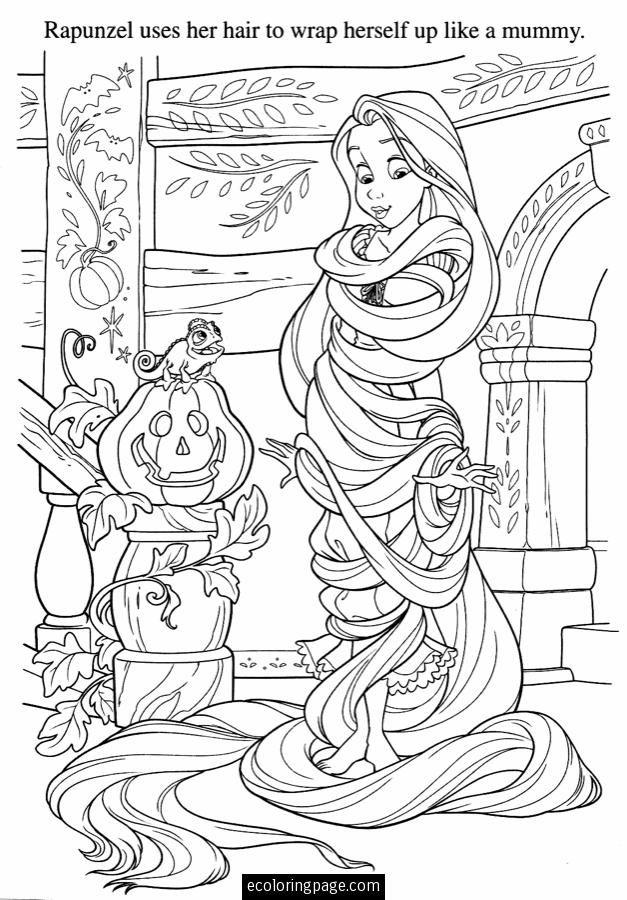 Disney Tangled Pumpkin And Rapunzel Wraps Her Hair Around Herself Printable Coloring Page Gif 627 900 Maleboger Tegning Til Born Glaedelig Halloween
