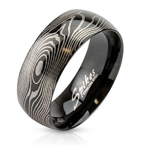 8mm Finger Print Laser Etched Black IP Ring Stainless Steel Men's Fashion Ring - Zhannel