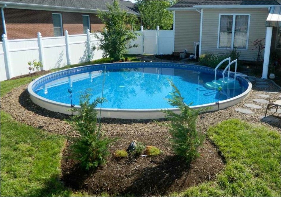 Pool, Captivating Small Home Backyard Beautified With Marvelous Fiberglass Pools With Rounded Shape: Get more advantages with fiberglass poo...