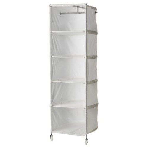 Ikea White Clothes Organizer Wardrobe Compact On Wheels By Ikea 49 99 Adjustable Shelves Can Be Removed To Make R Ikea Ps Attic Renovation Attic Flooring