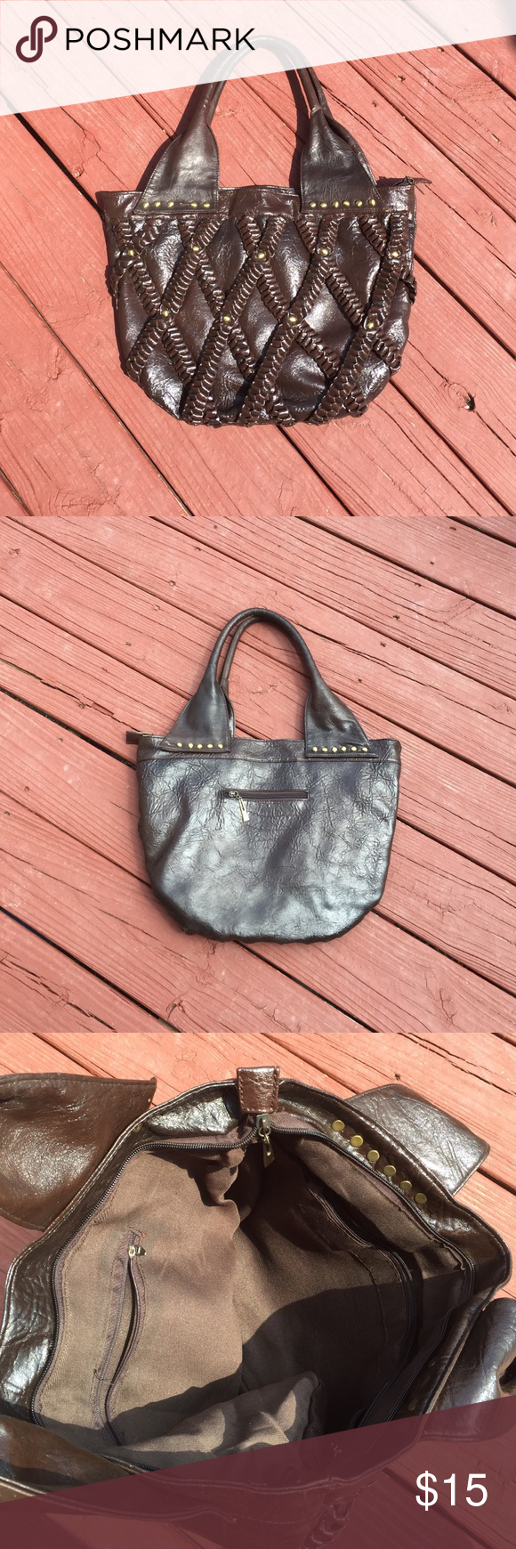 Large Purse Beautiful chocolate brown faux leather purse. Inside you will find plenty of room and two zippered pockets. In good used condition. Deb Bags