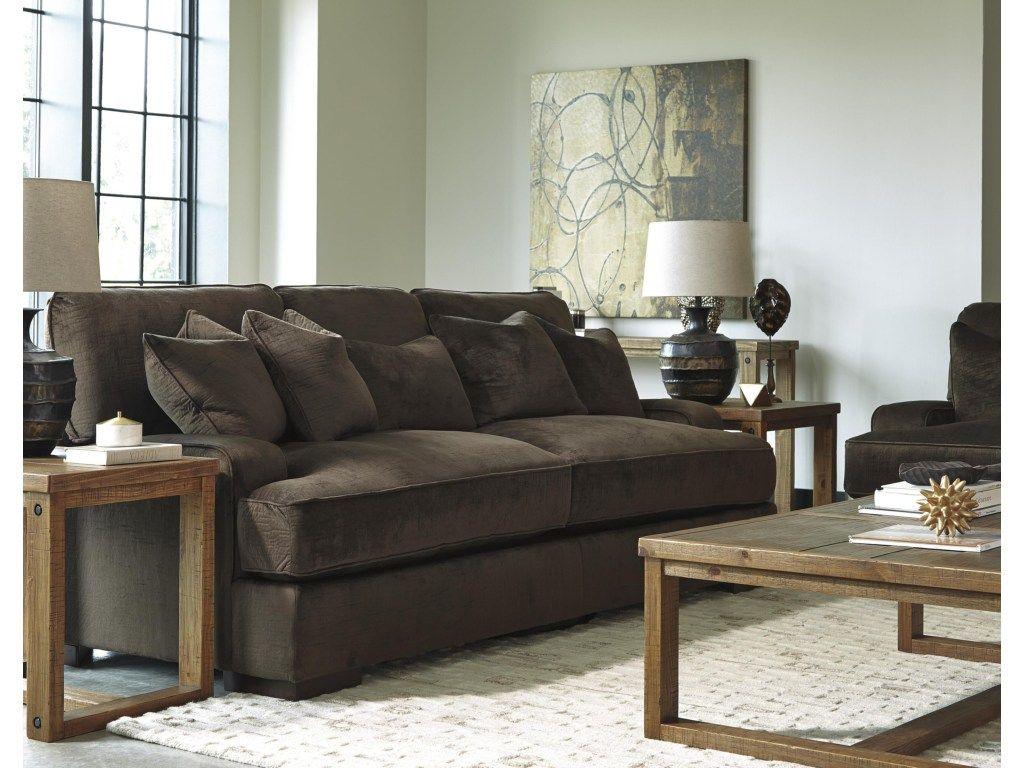 Benchcraft Bisenti Contemporary Sofa With UltraPlush Cushions   Dunk U0026  Bright Furniture   Sofas