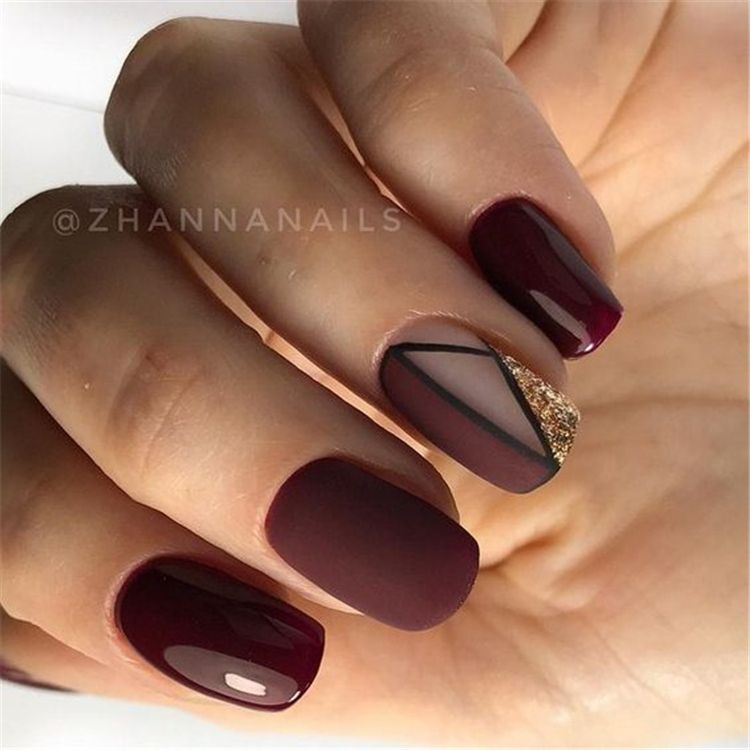 50 Gorgeous Burgundy Nail Color With Designs For The Coming