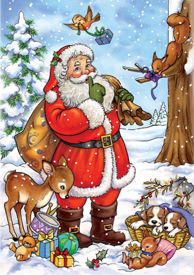 Santa Tells A Secret Christmas Scenery Santa Claus Drawing Vintage Christmas Cards
