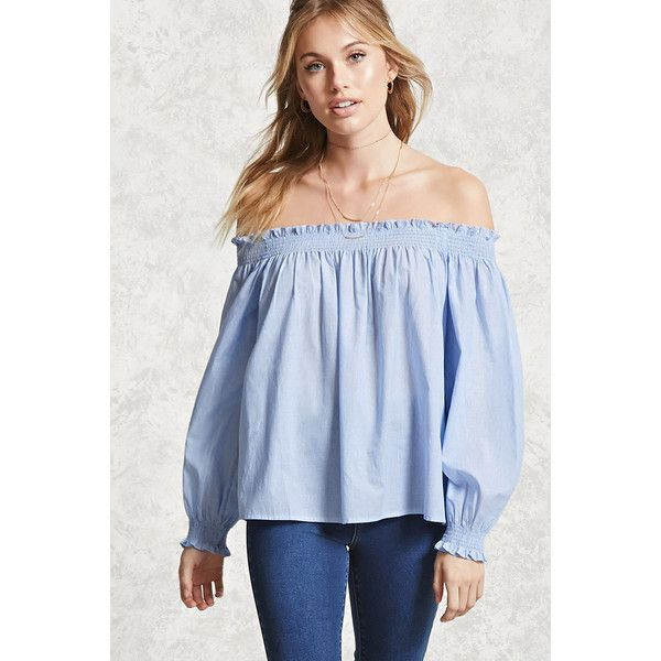 Forever21 Contemporary Pinstripe Top ($18) ❤ liked on Polyvore featuring  tops, blue top
