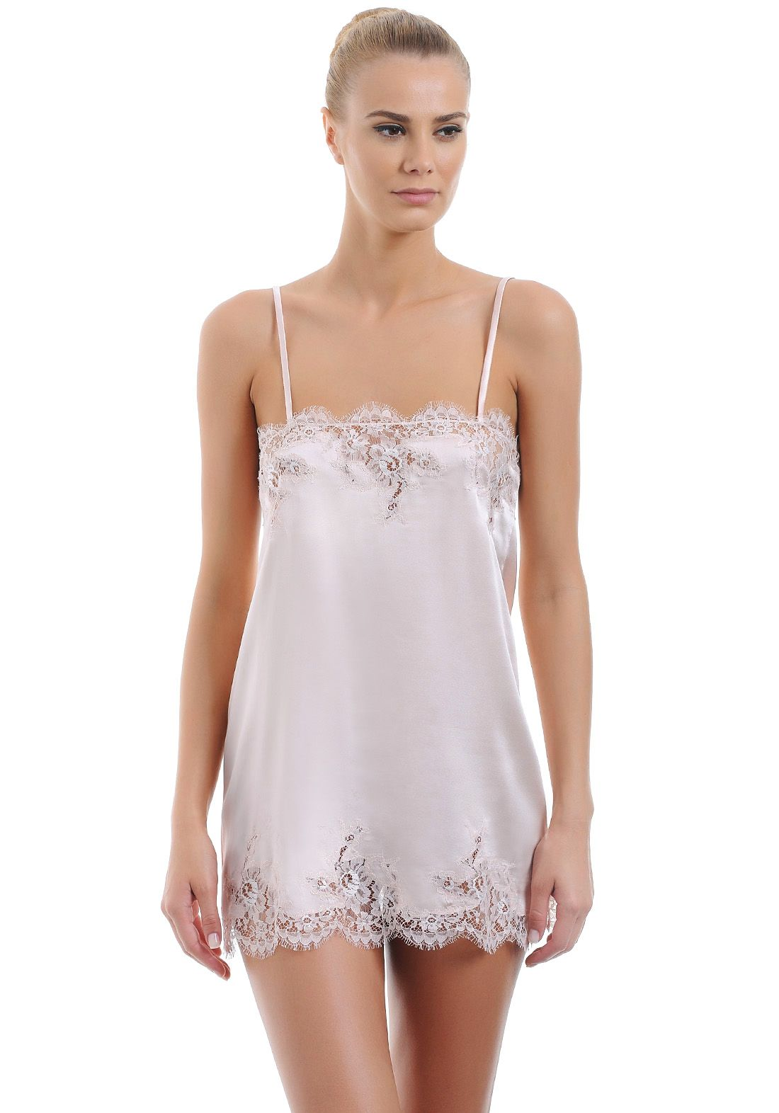 I.D.Sarrieri:: Fancy Mini Chemise In Silk Satin With Lace ...