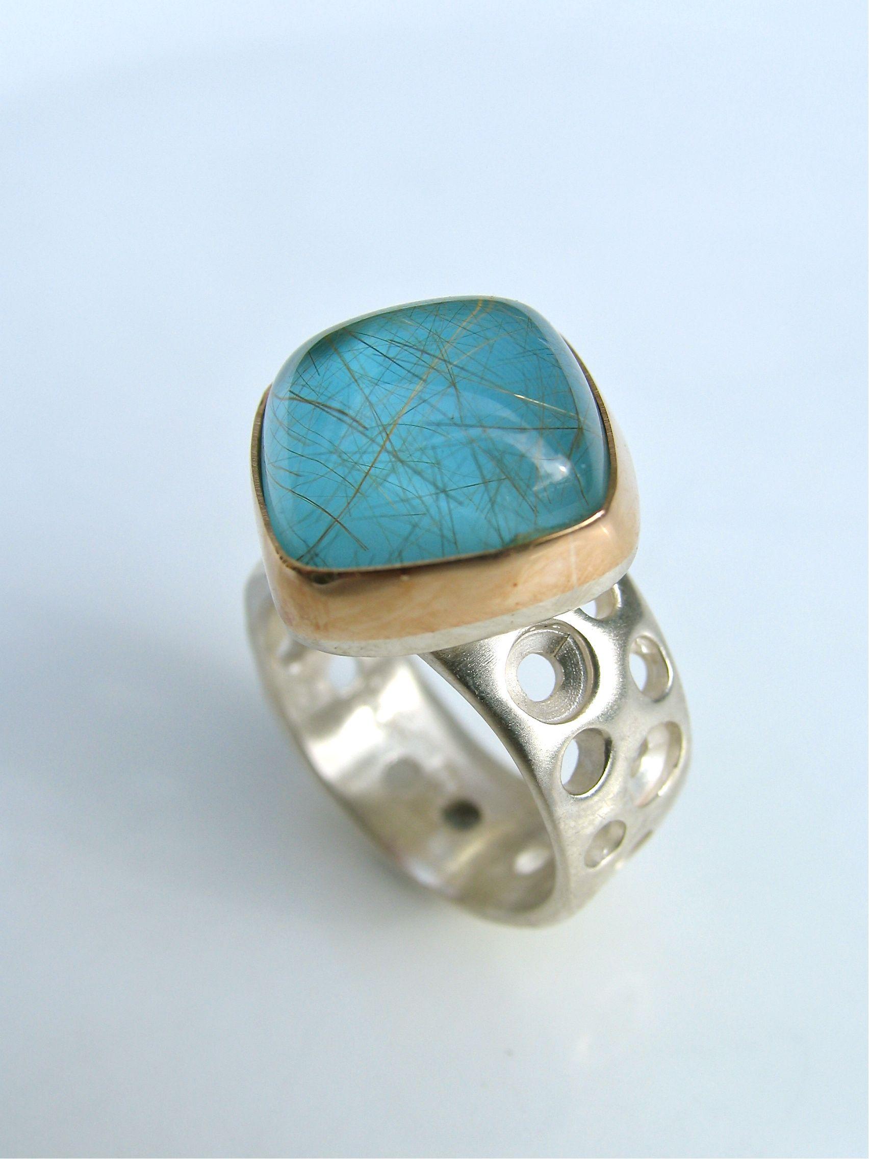 Blue turquiose ,quartzgold and silver. New Zealand