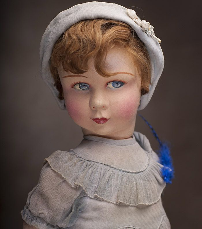 """20"""" (51 cm) Antique French Felt Doll by Raynal Lenci type in Original Costume c.1920"""
