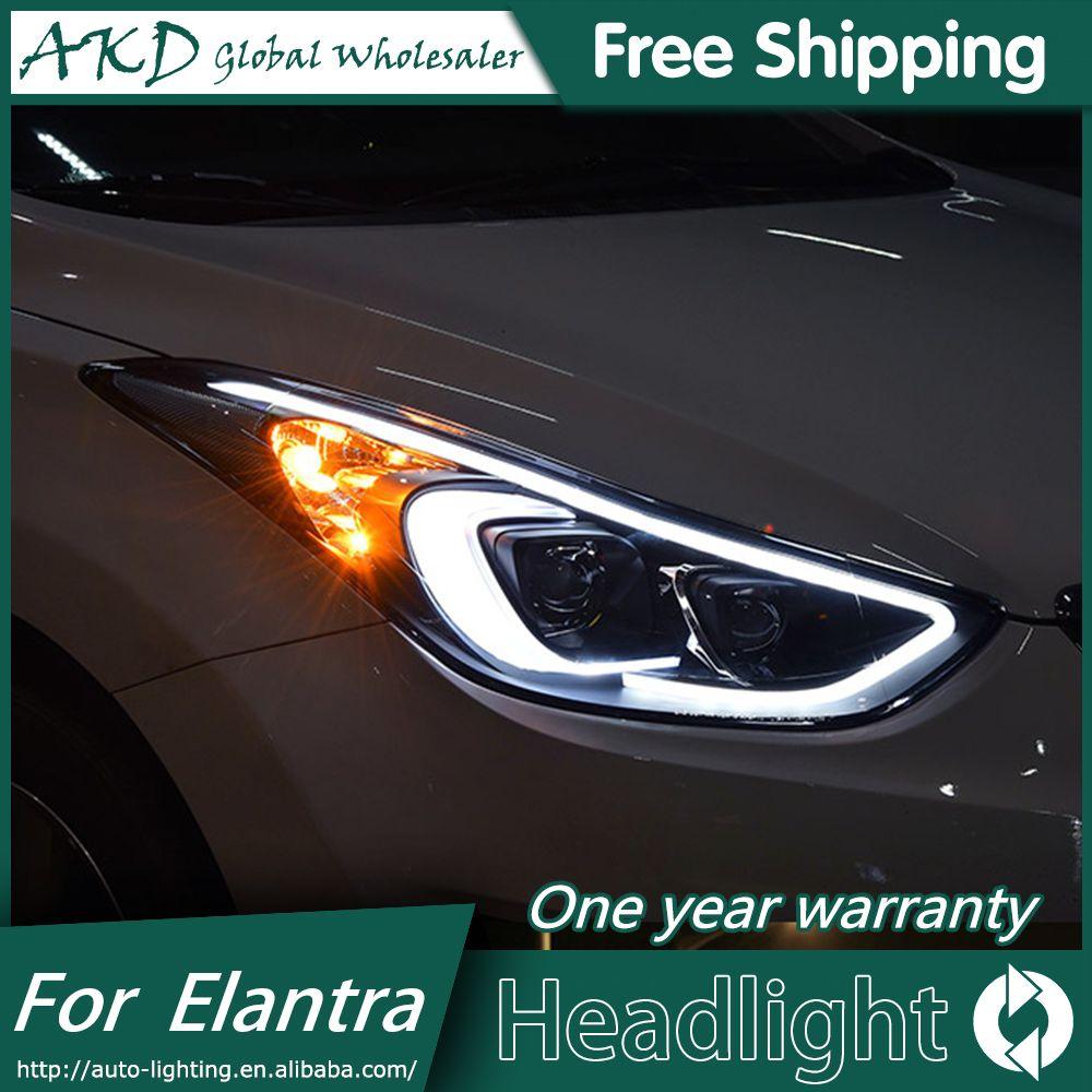 Akd Car Styling For 2012 2016 Hyundai Elantra Headlights Md Led Headlight Drl Q5 Bi Xenon Lens High Low Beam Parking Fo Elantra Hyundai Elantra Led Headlights