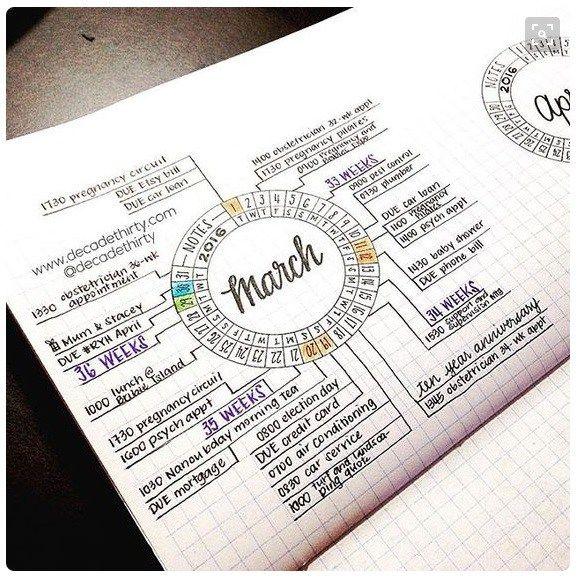 Calendar Ideas For Bullet Journal : Calendar wheel inspirations bullet journal