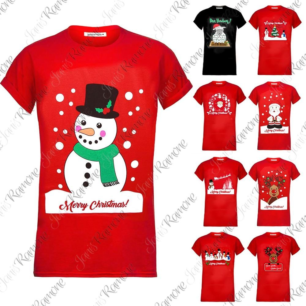 New Ladies Womens Snowman Christmas Printed Cap Sleeve Round Neck Xmas T Shirt