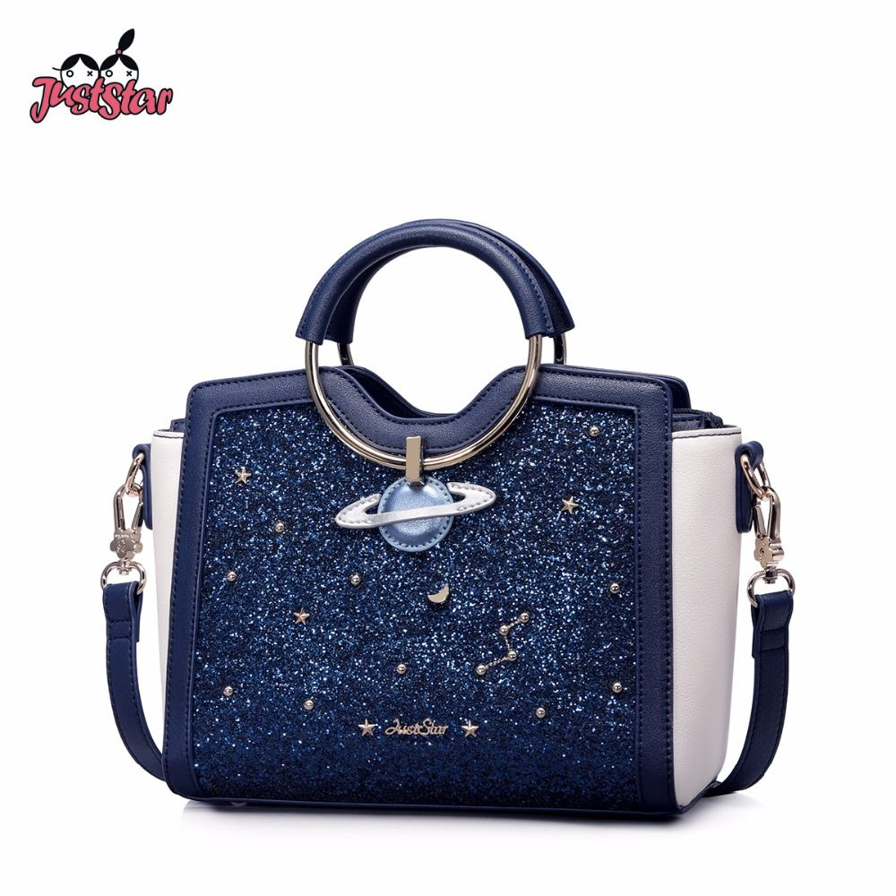 Just Star Women S Pu Leather Handbags Ladies Outer Space Planet