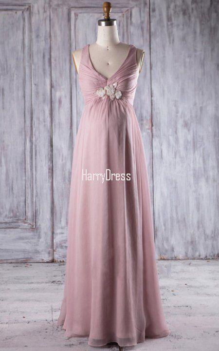 Light Pink Empire V Neck Chiffon Floor Length Flowers Bridesmaid Dress