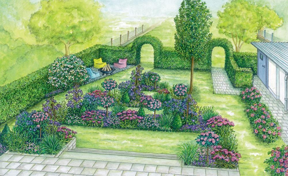 Sommerterrasse mit blumigem Ausblick Garden planning and Gardens