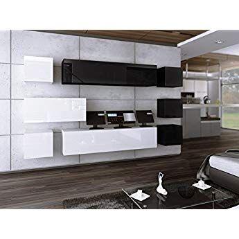 Wunderbar Wohnwand FUTURE 18 Anbauwand Moderne Wohnwand Hochglanz Weiß Schwarz/ Matt  Weiß Schwarz Exklusive Mediamöbel (
