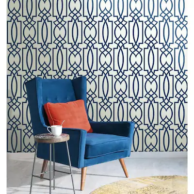 York Wallcoverings Inspired By Color Cobalt Blues 60 75 Sq Ft Navy Blue Paper Geometric Prepasted Soak And Hang Wallpaper Lowes Com In 2021 Blue Wallpaper Living Room Black And White Wallpaper Blue Trellis