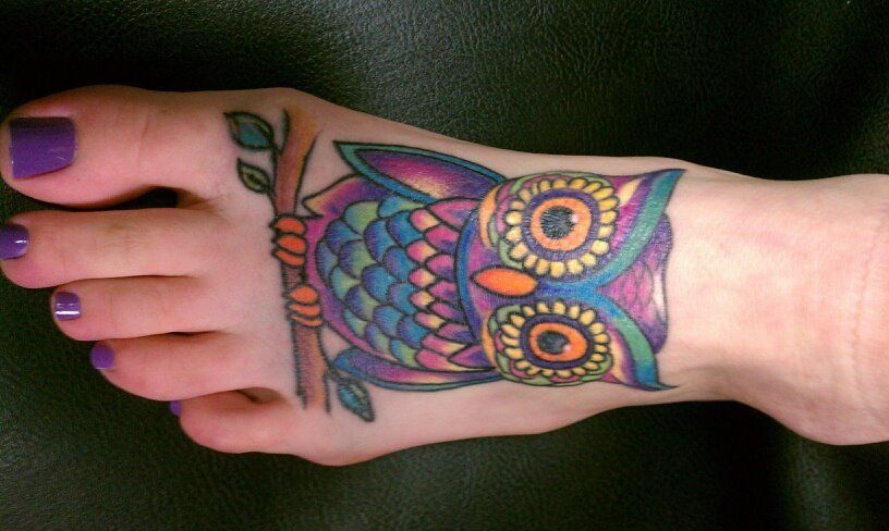 Marvelous Owl Tattoos Designs That Are A Symbol Of Wealth Colorful Owl Tattoo Owl Foot Tattoos Owl Tattoo