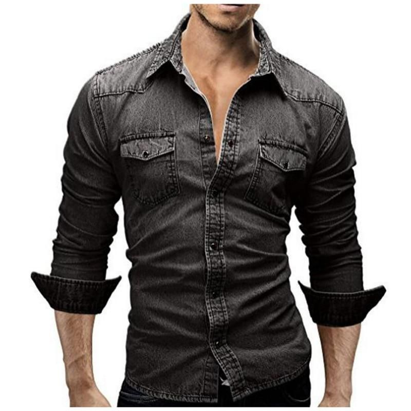 Shirt Men 2018 Male Denim Shirt Retro Men Shirt Long Sleeve Brand Clothing Camisa Hombre M Xxxl Dtww Yeste Denim Shirt Men Mens Outfits Casual Shirts For Men