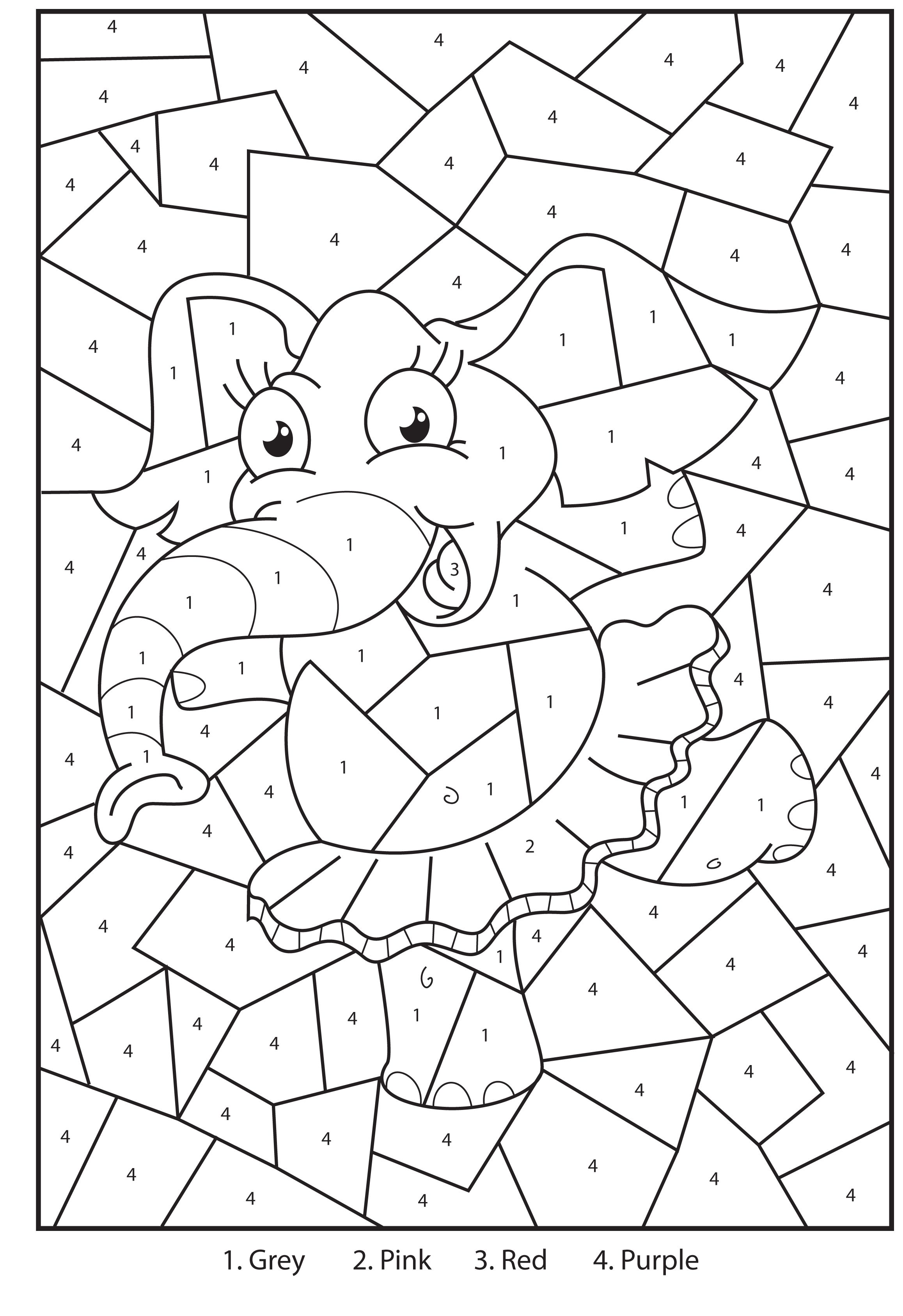 Free printable elephant colour by numbers activity for for Printable color by number pages