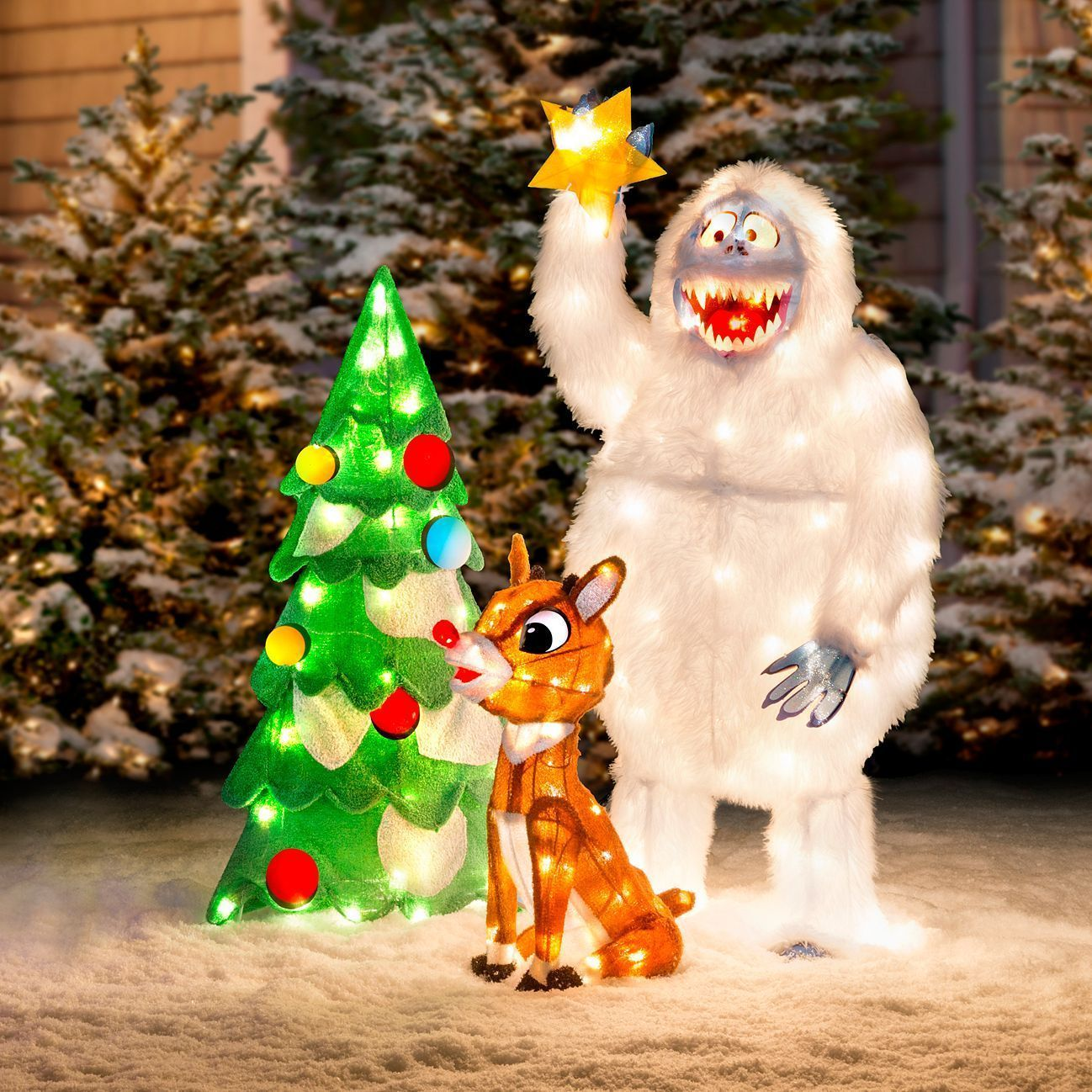 Lighted Animated Rudolph And Bumble Outdoor Christmas