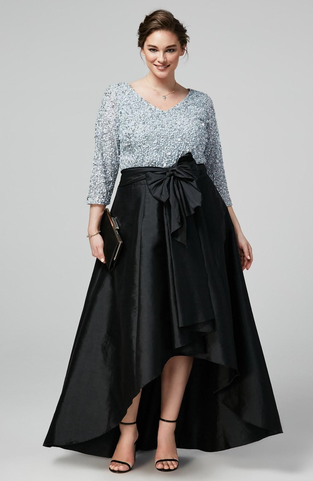 Chic High Low Sequined Plus Size Prom Dresses Sleeves V Neck A-Line Formal  Dress Teffeta Cheap Evening Gowns e307b8c04