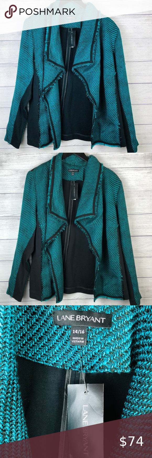 Lane Bryant Jacket Blazer Tweed Teal Black 14