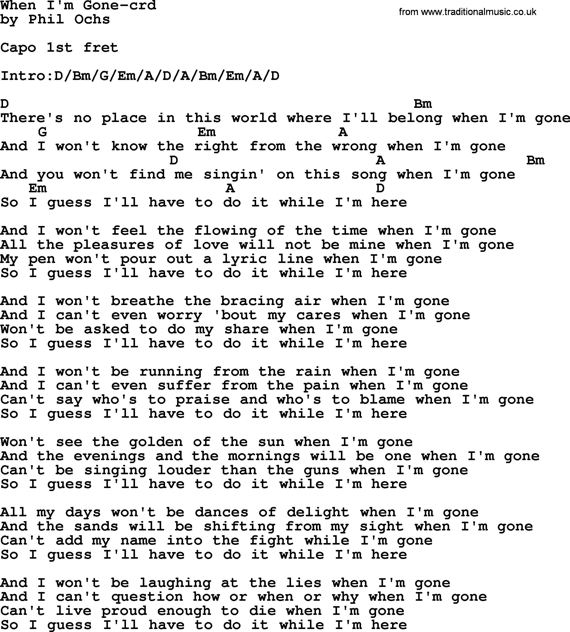 Phil ochs song when im gone by phil ochs lyrics and chords phil ochs song when im gone by phil ochs lyrics and chords hexwebz Gallery