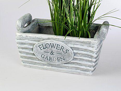 Pflanzkübel eckig Flowers & Garden graues Pflanzgefäß im ...
