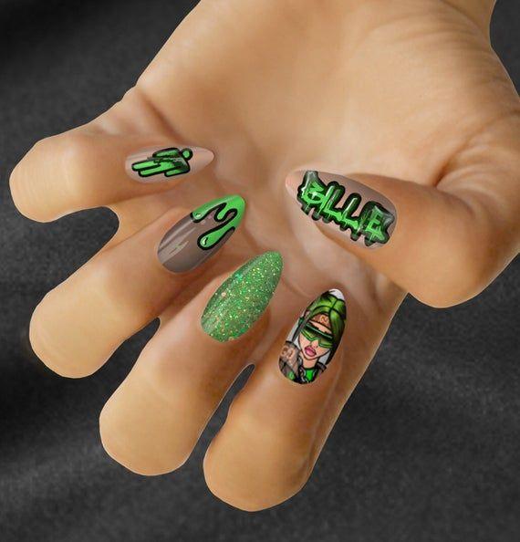 Billie Eilish Nail Art Decal In 2020 Crazy Nail Art Edgy Nails Cute Acrylic Nails