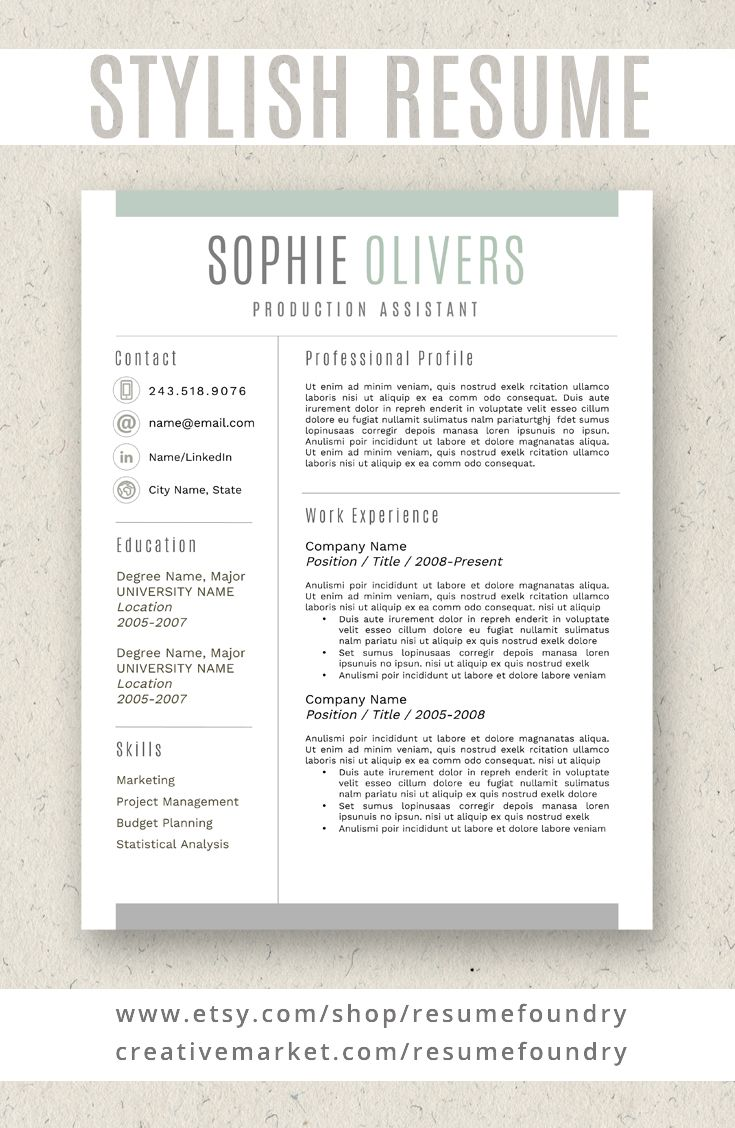 Stylish Resume Template Instant Download Use With Microsoft Word