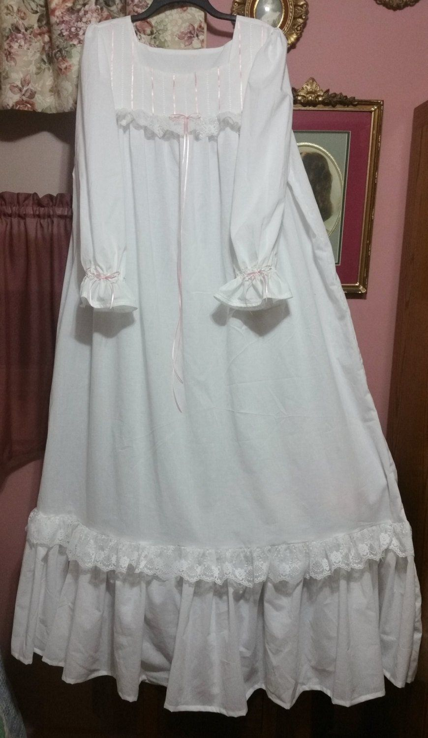 Victorian Nightgown White Cotton Floor Length Nightgown Etsy Night Gown Victorian Nightgown Night Dress For Women