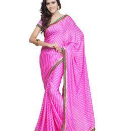 75ee681c7c Buy Pink Printed Moss Crepe saree with blouse bandhani-sarees-bandhej online